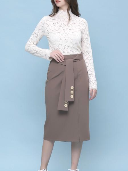 Sleeves Tied Midi Skirt