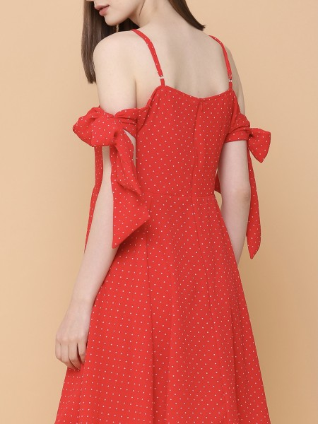 Dotty Spaghetti Tied Dress