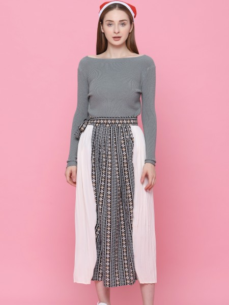 Part Pleats And Tribal Long Skirt