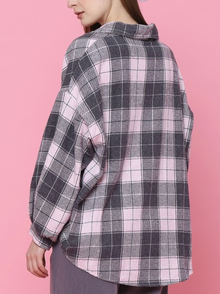 Oversized Sleeves Checkered Shirt