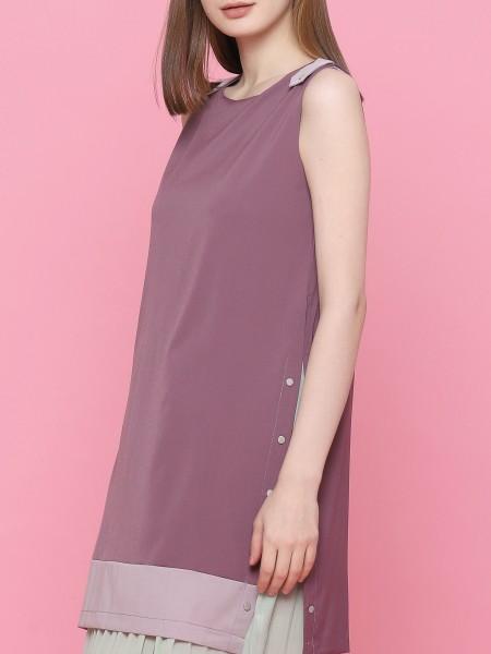Pleats Layered Sleeveless Dress