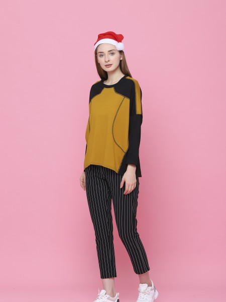 Two Tones Long Sleeves Jersey Top