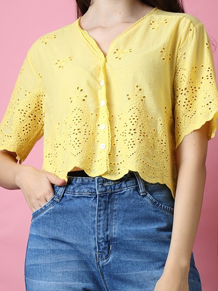 Cottage Core Laser Cut Embroindery Shirt