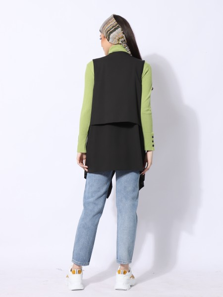 High Neck Knitted Wrist Button Top