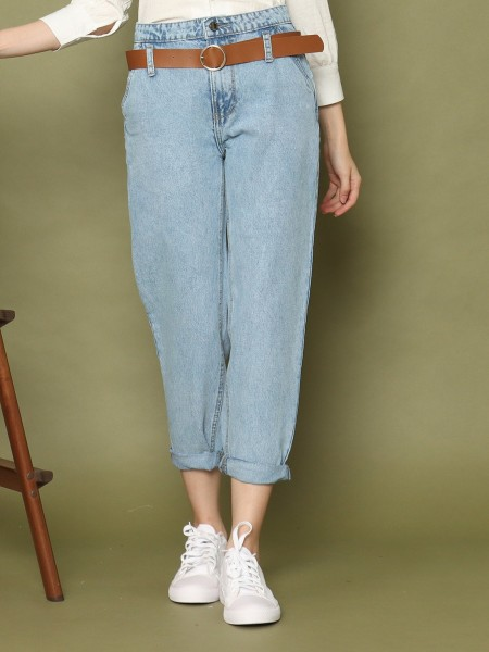 Belted High Waist Tappered Leg Jeans