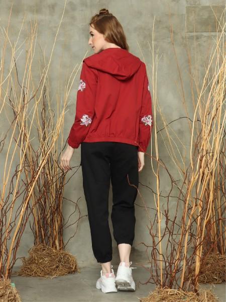 Flower embroidery sleeve hoodie jacket