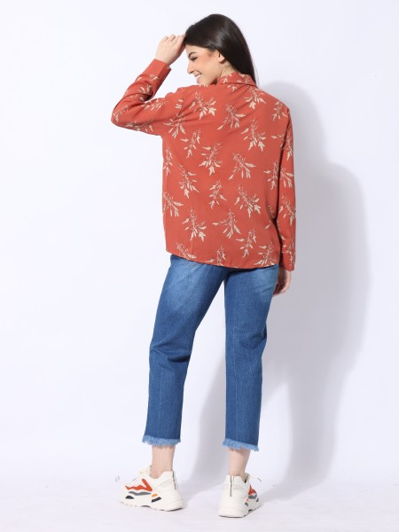 Cottage Core Dry Flower Print Shirt