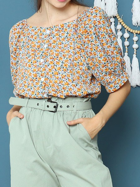 Painted Flower Print Top