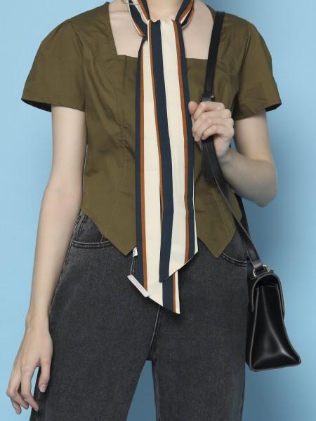 Square Neck Tiny Waist Shirt