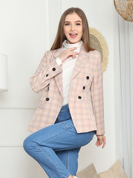 Cottage Core Double Breasted Checkered Blazer