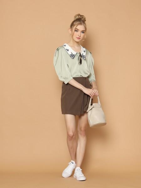 Collar Embroidery Satin Shirt