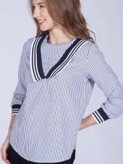 Long Sleeves V Stripes Top