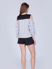 Two Tones Stripes Runched Cold Shoulder Top