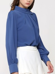 High Side Collar Long Sleeves Top