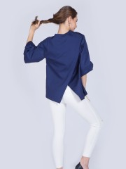 Flare Sleeves Asymmetric Top