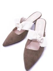 Leather-Bow Pointy Kitten Heels