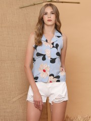 Flower Printed Sleeveless Shirt