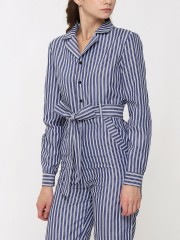 Waist-Tie Long Sleeves Stripes Jumpsuit