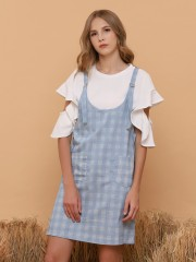 Double Pockets Blue Checkered Dungaree Skirt
