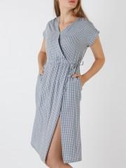 Cross Neck Gingham Dress