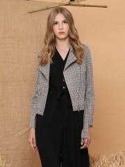 Checkered Biker Zip Jacket