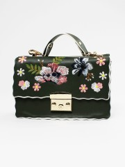 Coloured Outline Embroidered Sling Bag