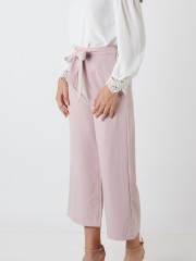 Waist-Tie Cropped Palazzo Pants