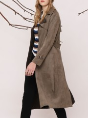 Suede Long Tied Jacket