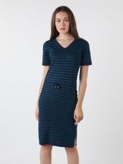 Drawstring Stripes Knitted Dress