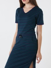 Drawstring Stripes Knitted Dress