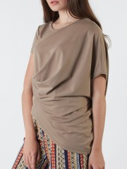 Asymetric Side Runched Top