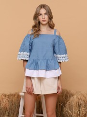 Two Tones Chambray Drop Shoulder Top
