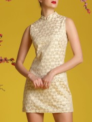 Gold Flower Embroidery Qibao Dress