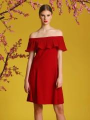 Pleats Off-Shoulder Dress