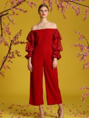 Puffy-Tiered Laces Sleeves Off Shoulder Jumpsuit