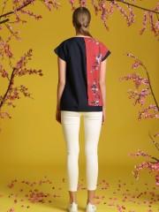 Two Tones Sakura Flower Printed Top