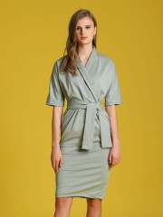 Waist-Tie Front Wrap Dress