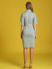 Waist-Tie Front Wrap Dress
