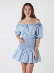 2 Pieces Set Off Shoulder Top With Skirt