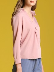 Front Twist Long Sleeveles Top