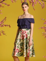 2 Pieces Flower Print Skirt