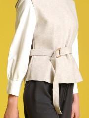 Long Sleeve High-Neck Woollen Top With Belt