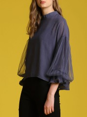 2 Pieces Set Layered Puffy Sleeves Sheer Top