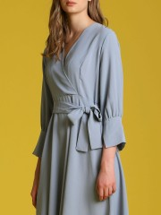 Waist-Tie Long Sleeveles Front Wrap Dress