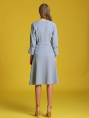 Waist-Tie Long Sleeveles Front Wrap Dress