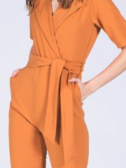 Waist-Tie Sleeve Long Sleeveless Wrap Jumpsuit