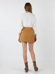 Double Breasted Wrap Mini Skirt