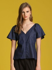 Wide V Neck Button-Up Top