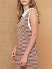 Stripes Sleeveless Wollen Dress
