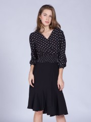 Polkadot Long Sleeveless Wrap Top